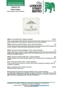 Week # 18 Wine Notes